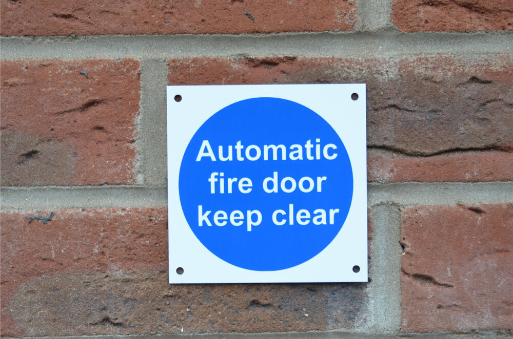 Automatic Fire Doors : Automatic fire door keep clear emergency evacuation sign