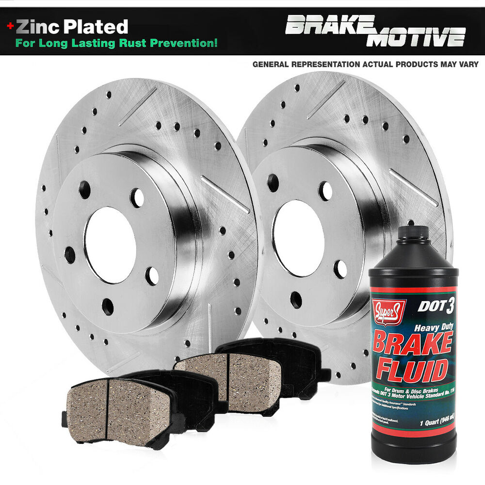 Rear Drill & Slot Brake Rotors And Ceramic Pads For Acura