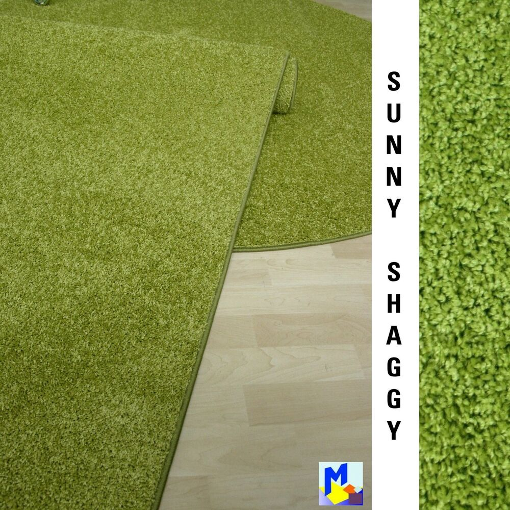 teppich l ufer shaggy sunny 21 gr n 70 cm breit halb hochflor umkettelt neu ebay. Black Bedroom Furniture Sets. Home Design Ideas