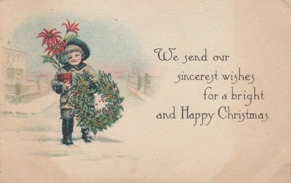 Vintage wreath postcards really