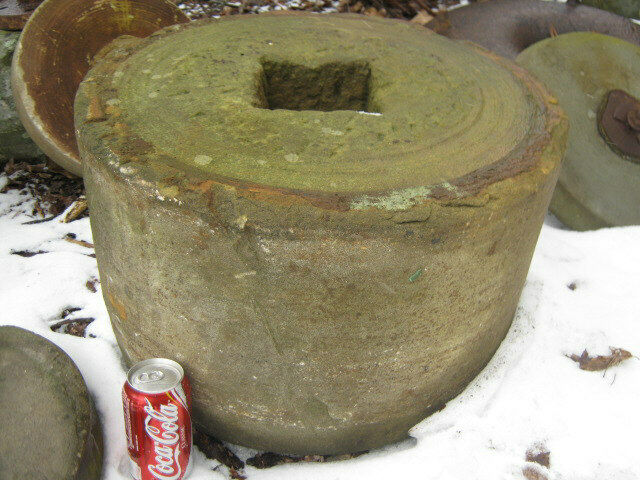 2 Antique Flower Garden Grinding Stone Stand Table Bench
