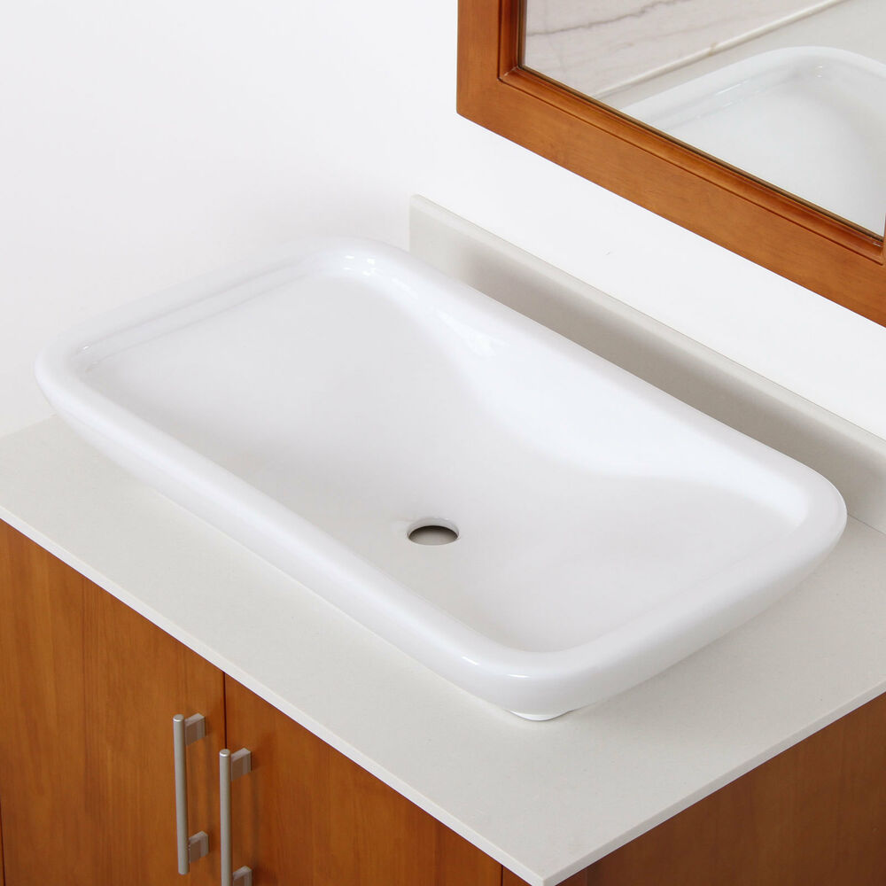New bathroom white long square ceramic porcelain vessel for Latest bathroom sinks