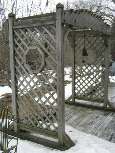 Antique Architectural Garden Wood Arch Pergola Swing