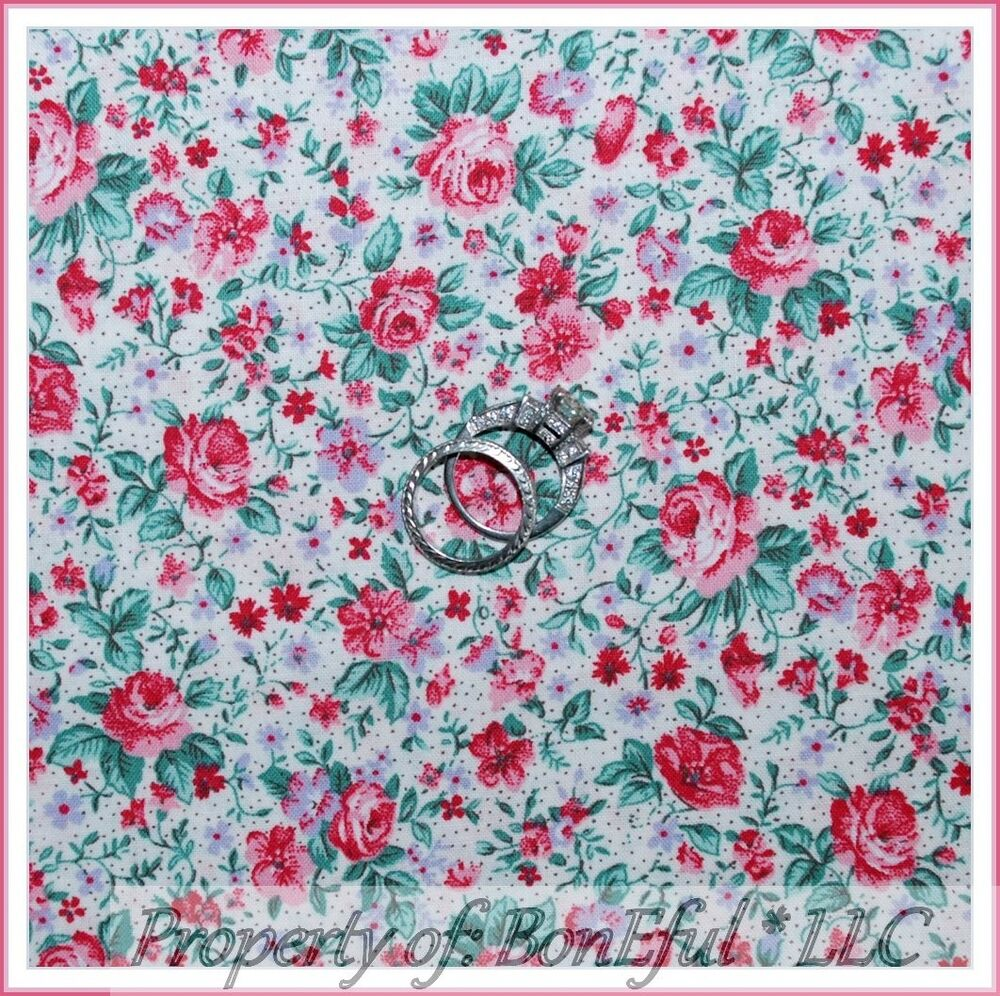 Boneful fabric fq cotton quilt calico house victorian pink for Victorian floral fabric