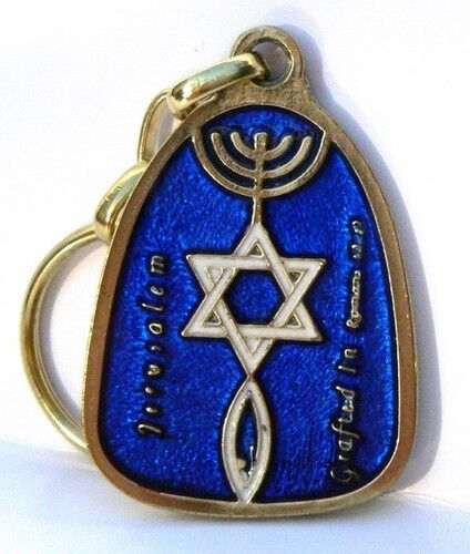 Blue messianic keychain menorah star of david fish hebrew for Fish in hebrew