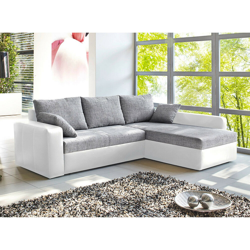 ecksofa viper sofa wohnlandschaft in wei und grau mit bettfunktion und kissen ebay. Black Bedroom Furniture Sets. Home Design Ideas
