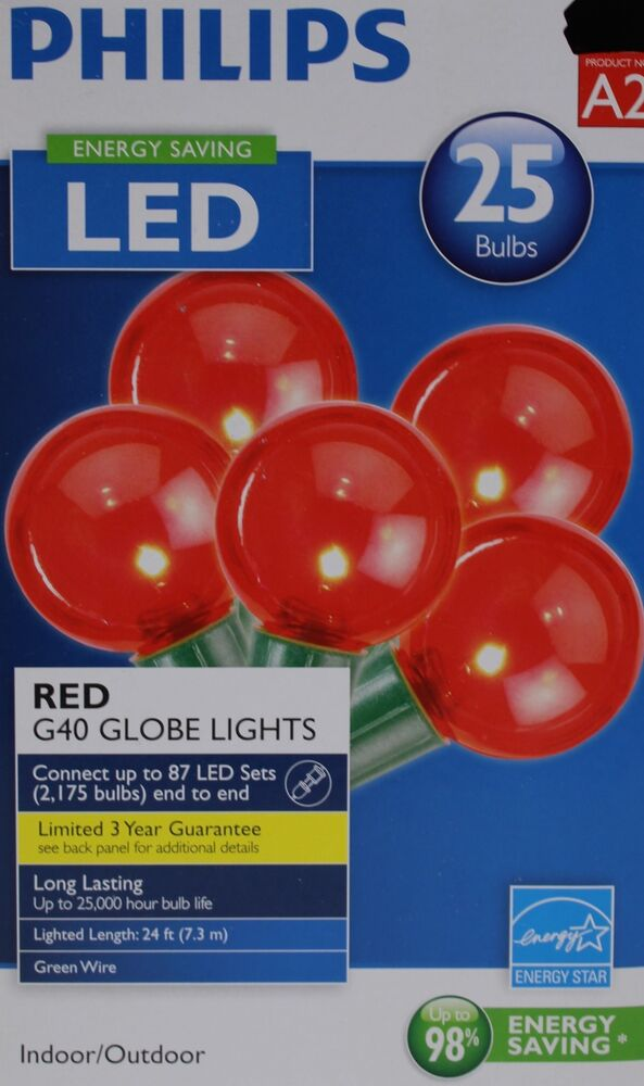 philips 25 red bulbs g40 globe string lights green wire. Black Bedroom Furniture Sets. Home Design Ideas
