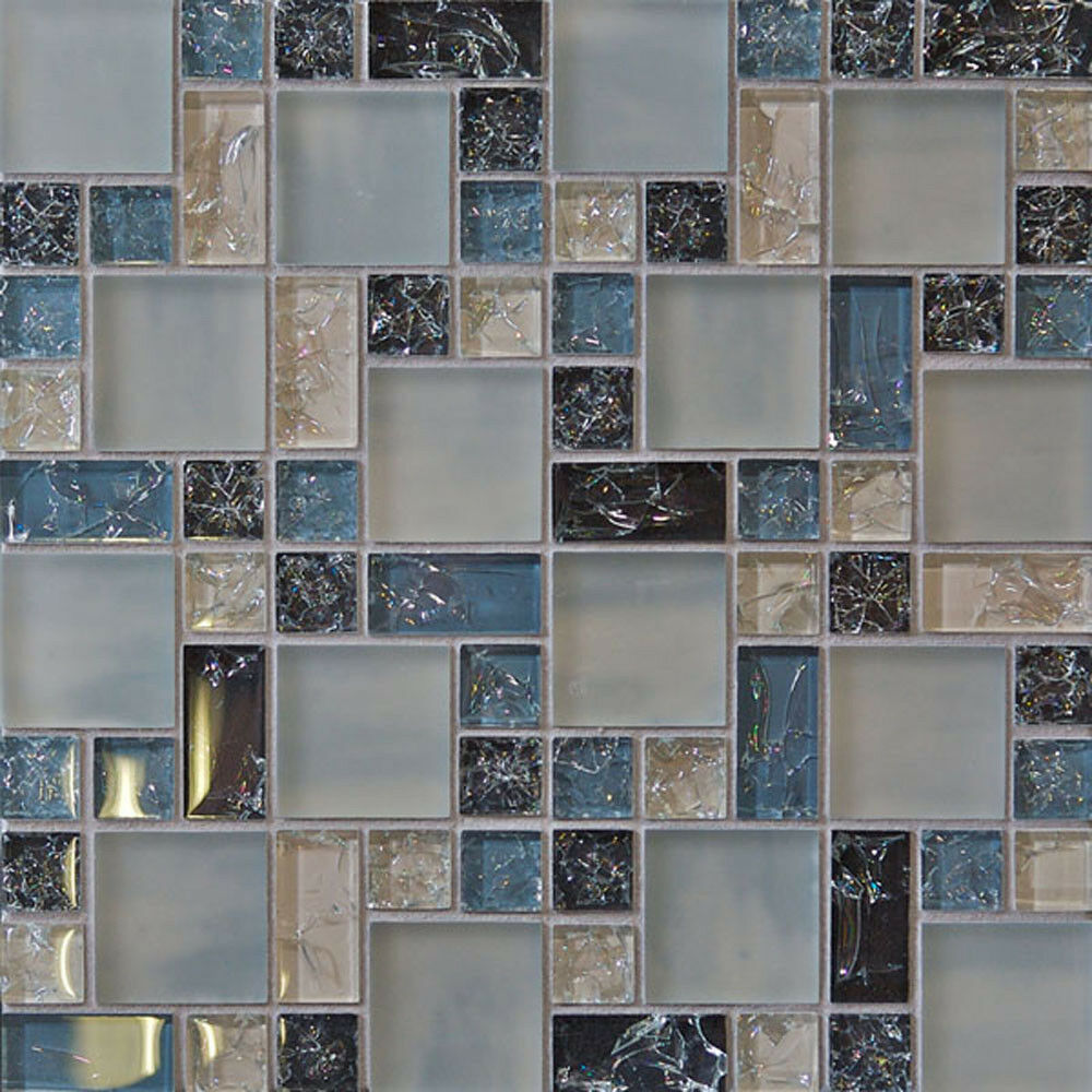 1 sf blue crackle glass mosaic tile backsplash kitchen for Glass instead of tiles in kitchen