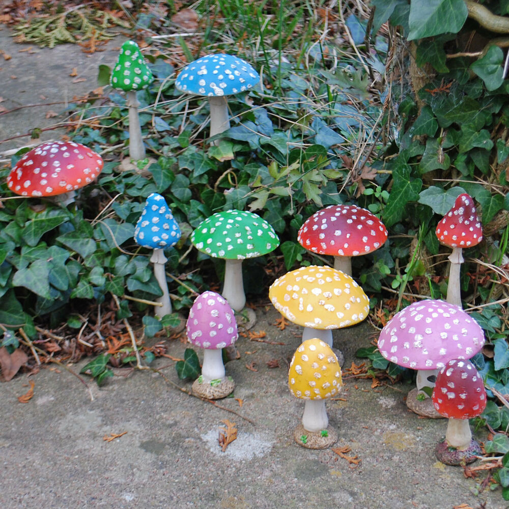 Garden Toadstool Ornament Coloured Resin Magical Fairy