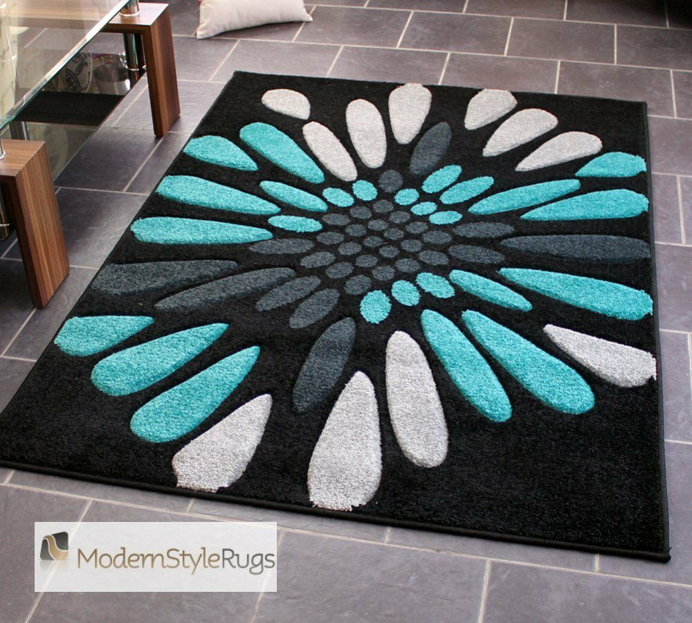 Teal Blue Black And Grey Burst Pattern Rug Very Modern