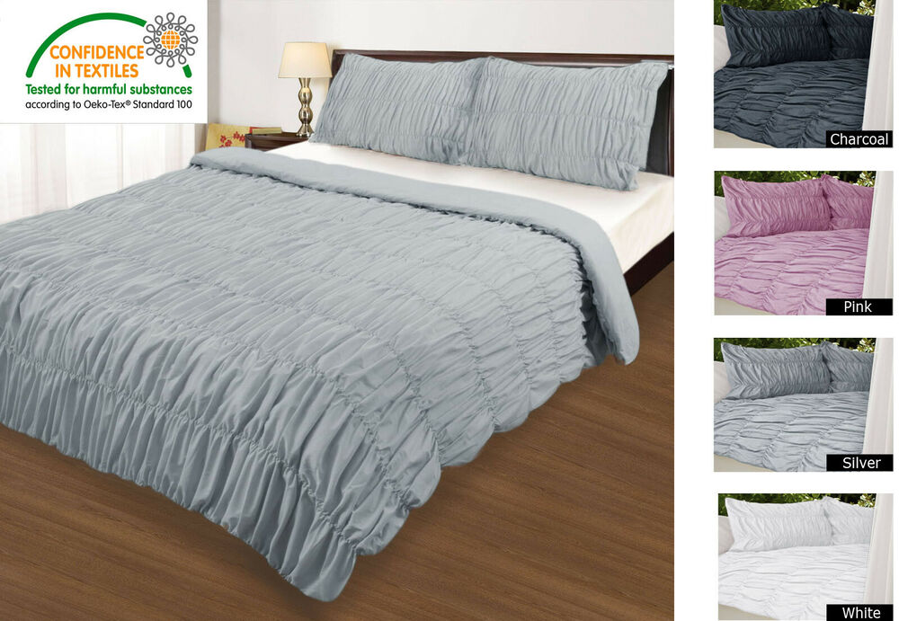Ruched Quilt Cover Set Charcoal White Silver Pink