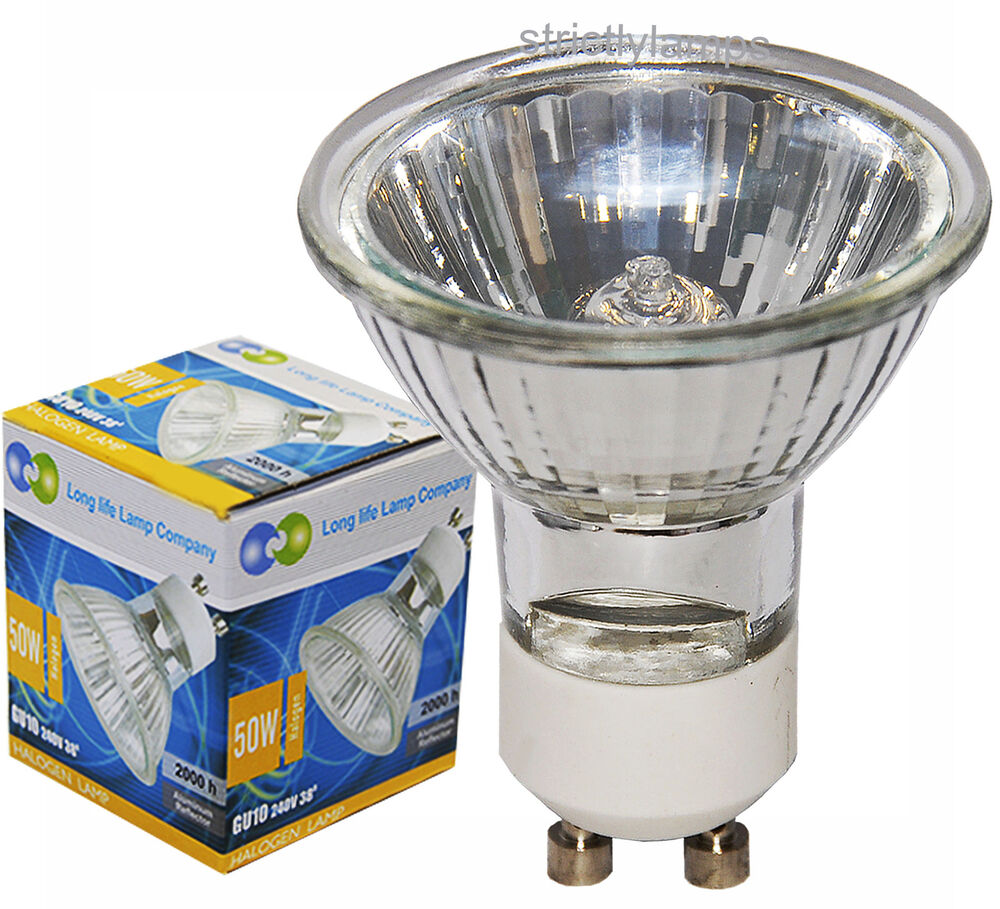 10 Pack Long Life Lamp Co Gu10 Halogen 50w Light Bulbs Long Life Gu10 Lamp New Ebay