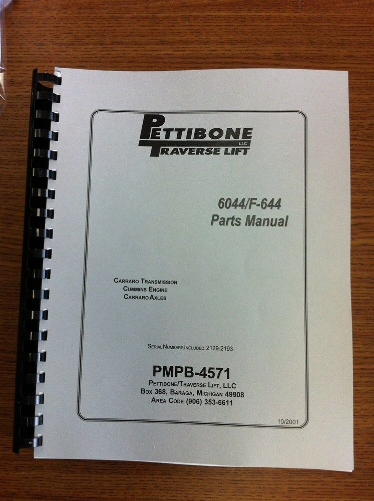 parts manual for pettibone 6044 and traverse f644 forklift ebay rh ebay com Traverse Lift 8040 Parts Traverse Lift Reach