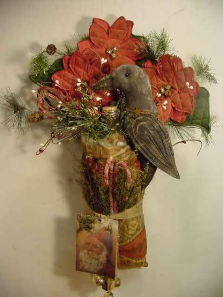 Primitive Christmas Quilt Tussie Crow Poinsettia Door ...
