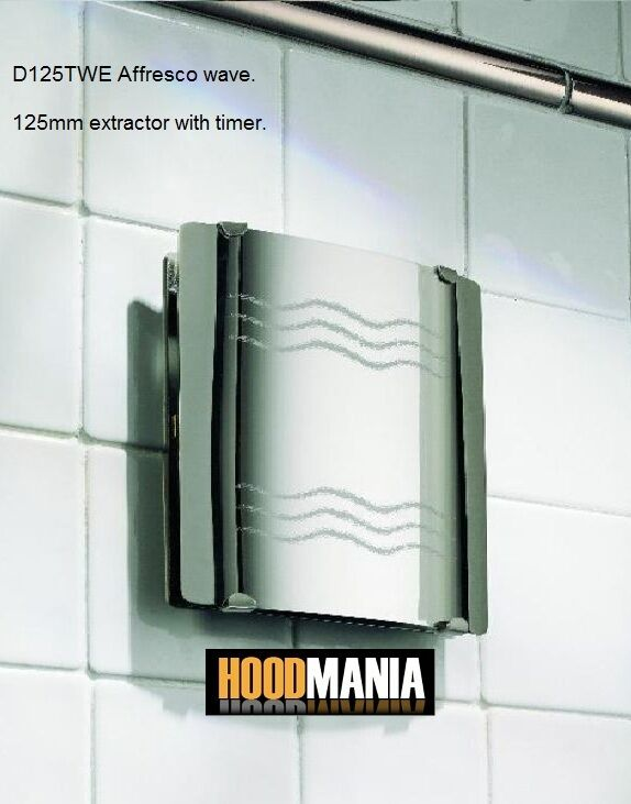 "Bathroom Extractor Fan With Light: 5"" 125mm Greenwood Chrome Affressco Wave Kitchen WC"