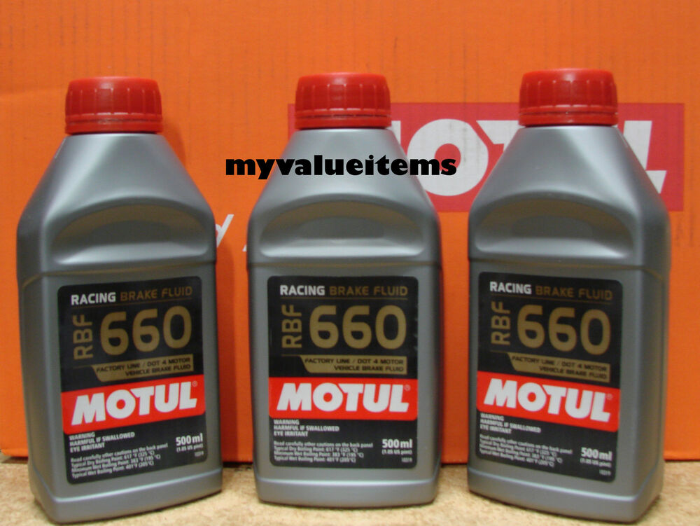 3 motul rbf 660 factory line dot 4 racing brake fluid 100 synthetic 500 ml each ebay. Black Bedroom Furniture Sets. Home Design Ideas