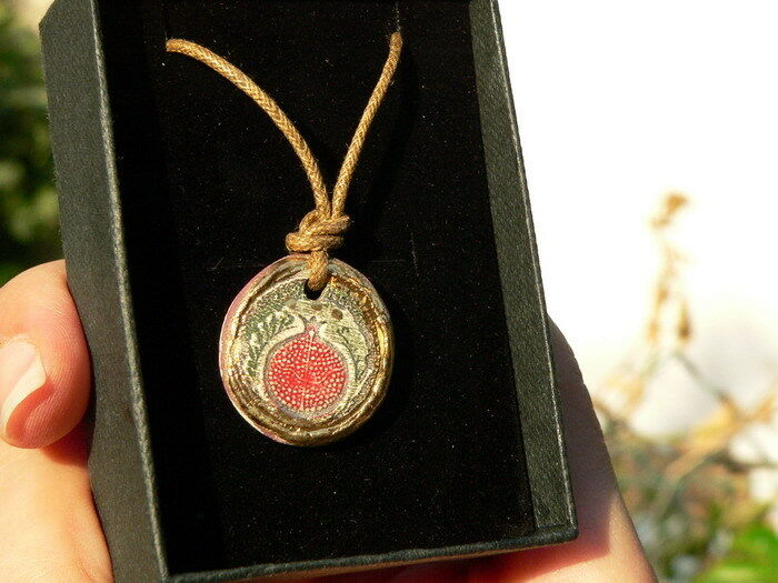red pomegranate clay pendant necklace 24k gold paint
