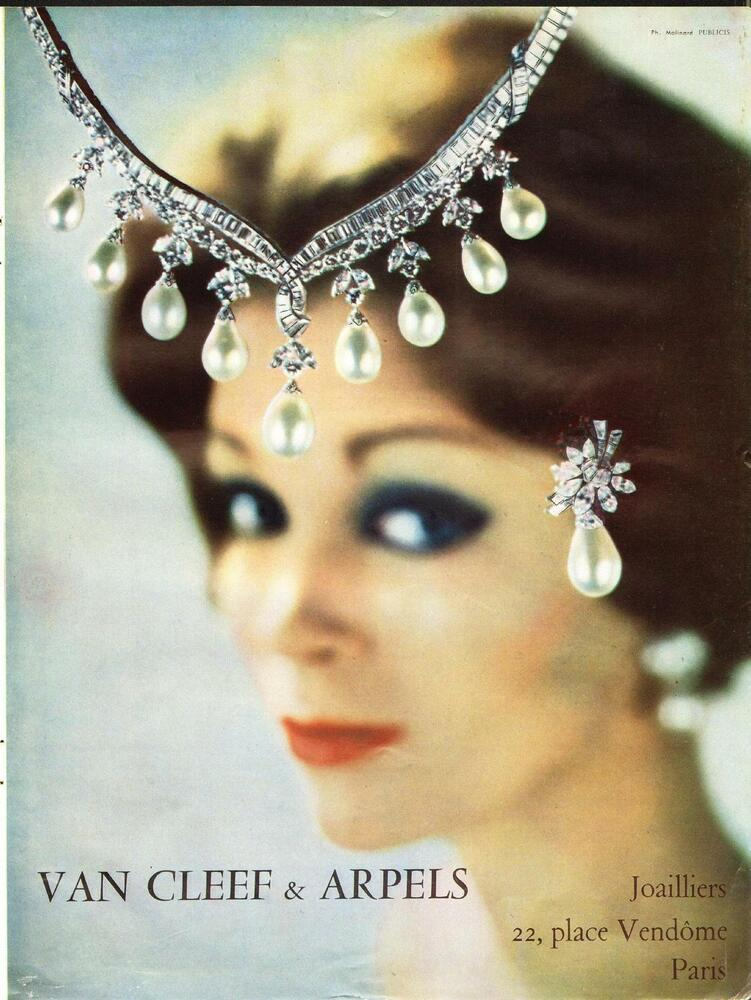 1960 van cleef arpels jewelry french ad place for Paris vendome gioielli