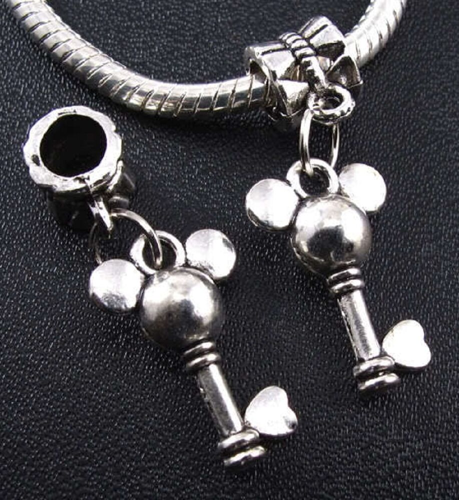 Mickey Mouse Charm Bracelet: One Small Mickey Mouse Key 3-D European Charm On Bail