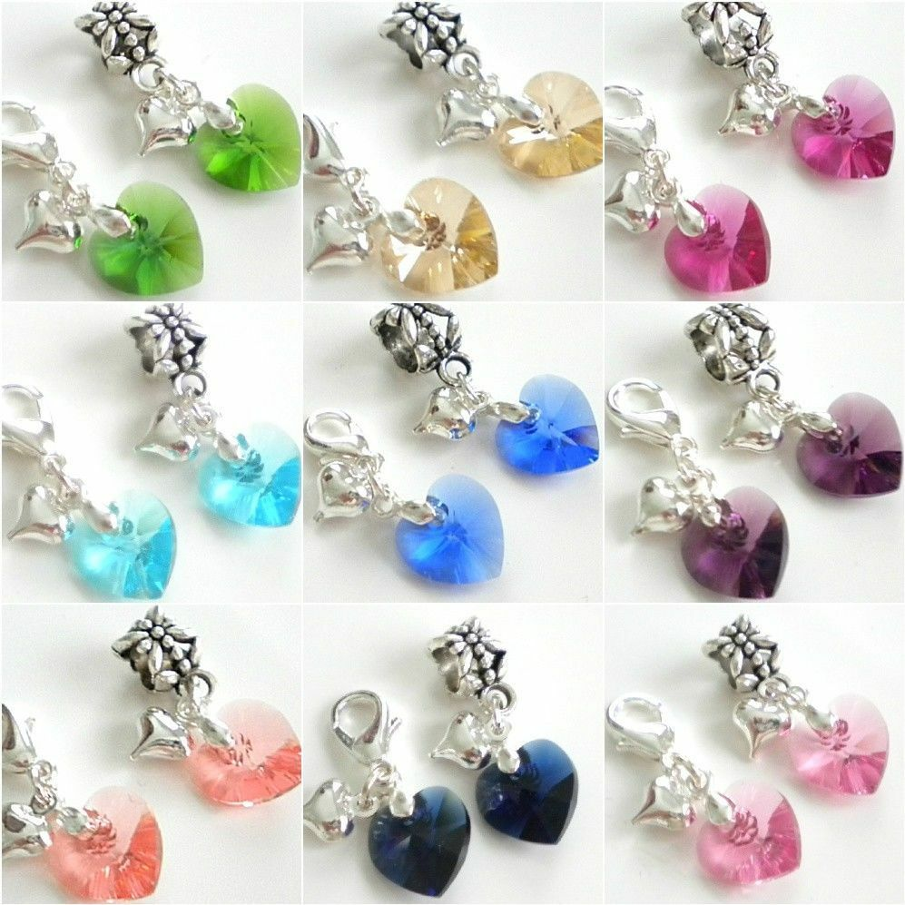 swarovski elements crystal heart charm bead bail or lobster clip for bracelet ebay. Black Bedroom Furniture Sets. Home Design Ideas