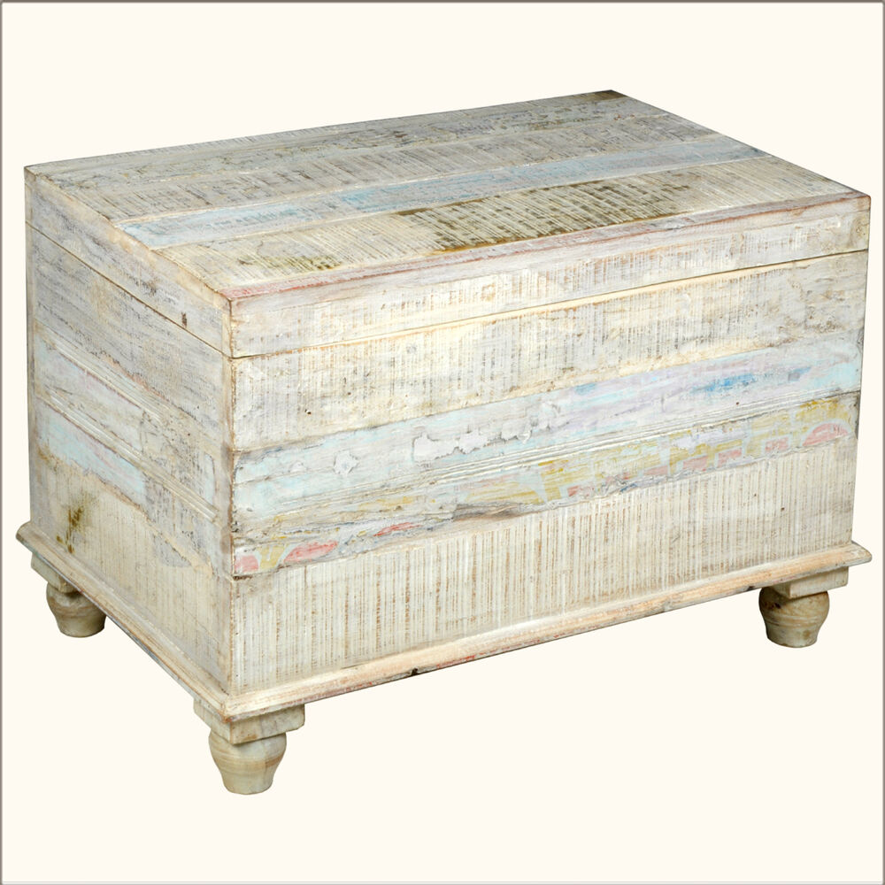 Old reclaimed wood white storage box trunk coffee table chest furniture ebay White wood coffee table