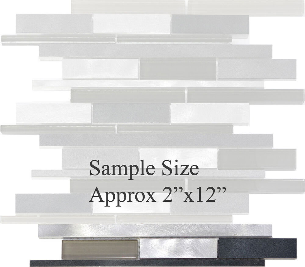 Sample Marble Green Brown Glass Linear Mosaic Tile: SAMPLE- Metal Stainless Steel Linear Glass Mosaic Tile