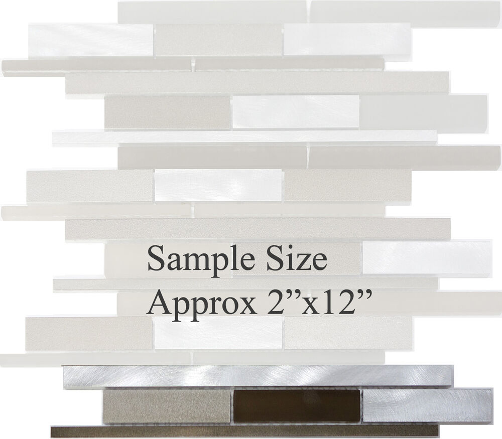 Sample Stainless Steel Metal Pattern Mosaic Tile Kitchen: SAMPLE- Metal Stainless Steel Linear Frosted Glass Mosaic