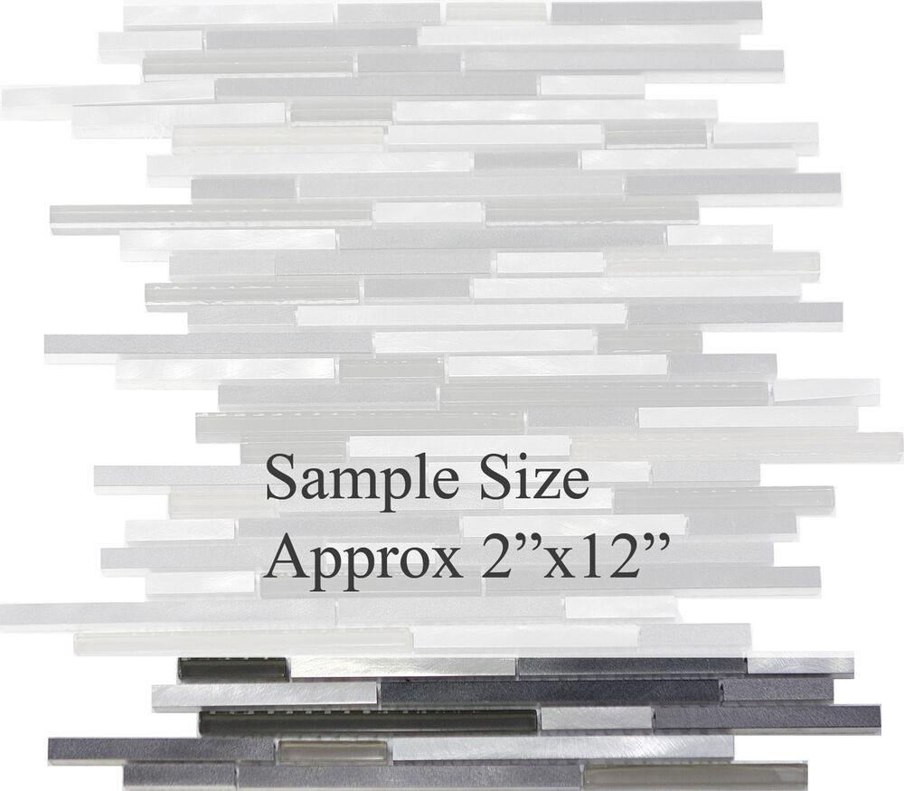 Sample Stainless Steel Metal Pattern Mosaic Tile Kitchen: SAMPLE- Modern Metal Stainless Steel Linear Glass Mosaic