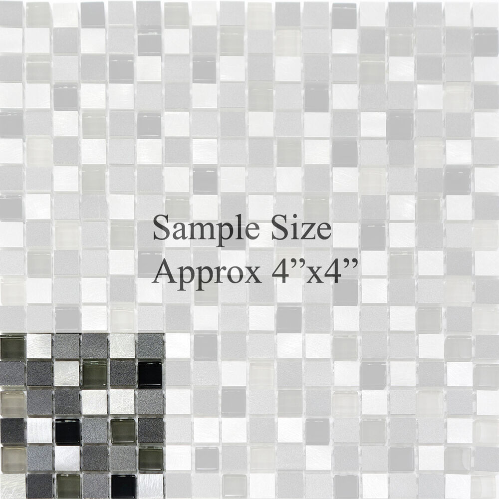 Stainless Steel Pattern Gray Glass Mosaic Tile: Glass Metal Stainless Steel Mosaic Tile Kitchen