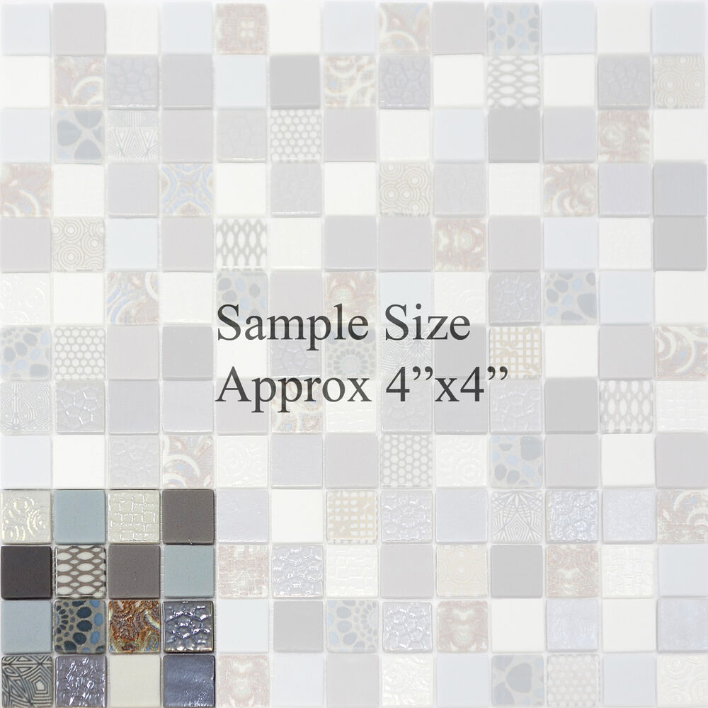 Kitchen Tiles Ebay: SAMPLE- X-Studio Unique Pattern Glass Mosaic Tile Backsplash Kitchen Gray Blue