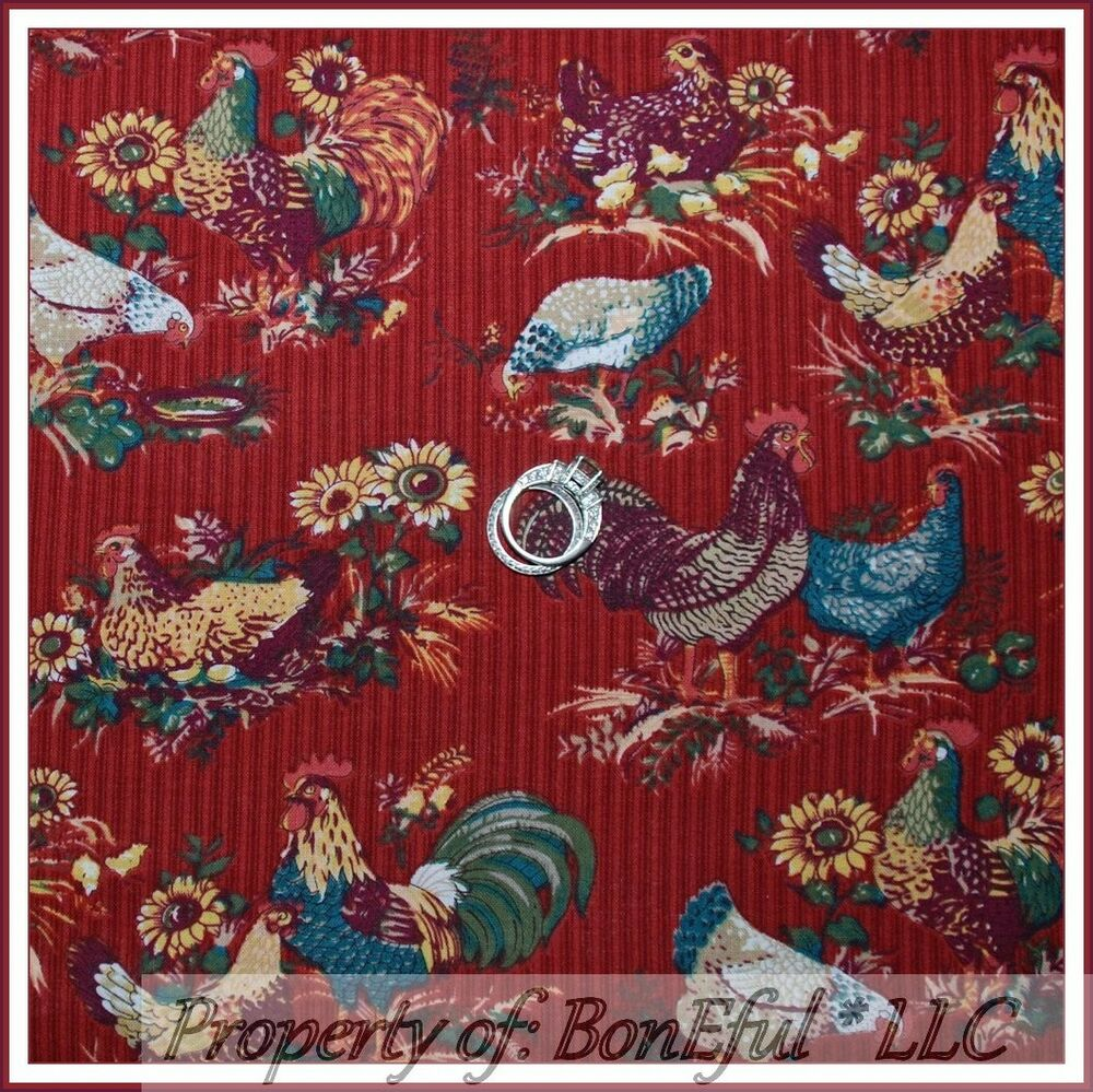 BonEful Fabric FQ Cotton Quilt Country Red Farm VTG