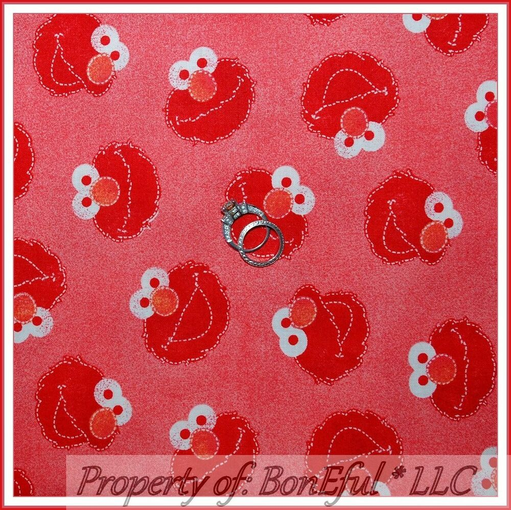 Boneful fabric fq cotton quilt red elmo sesame street rare for Boy nursery fabric