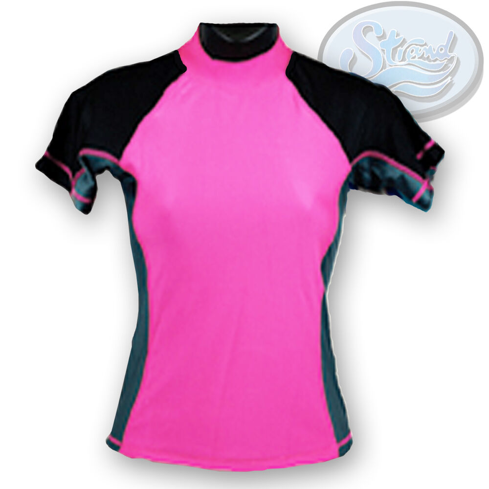 Large pink rash guard ladies womens new by strand spf 50 for Shirts with sunscreen in them