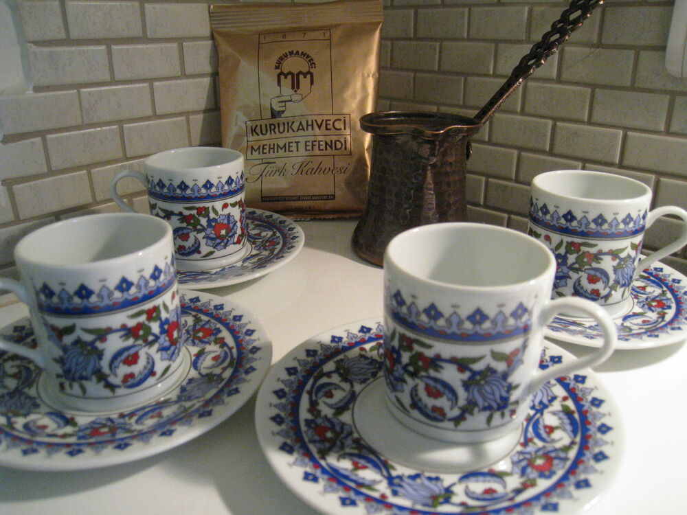 Turkish Coffee Serving Sets-4 Coffee PorcelainCup&Saucer ...