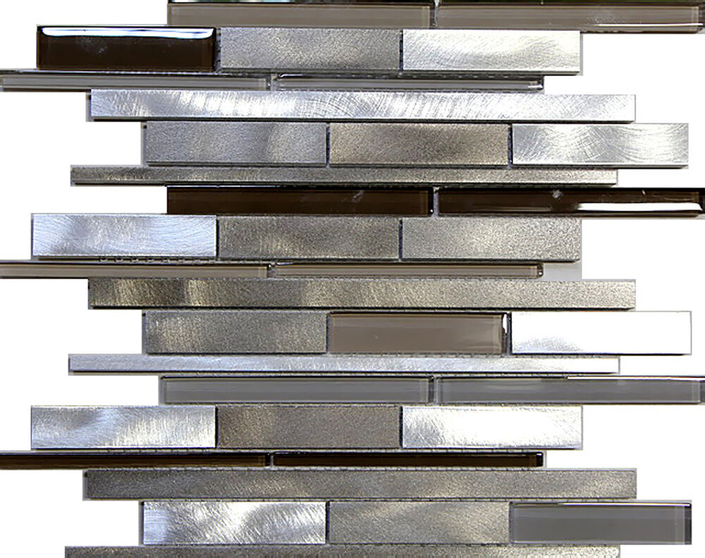 1sf metal stainless steel linear glass mosaic tile