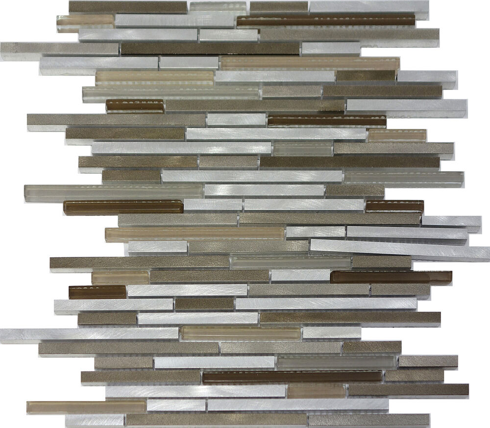 Sample Golden Brown Metallic Linear Glass Mosaic Tile: 1SF- Modern Metal Stainless Steel Linear Glass Mosaic Tile