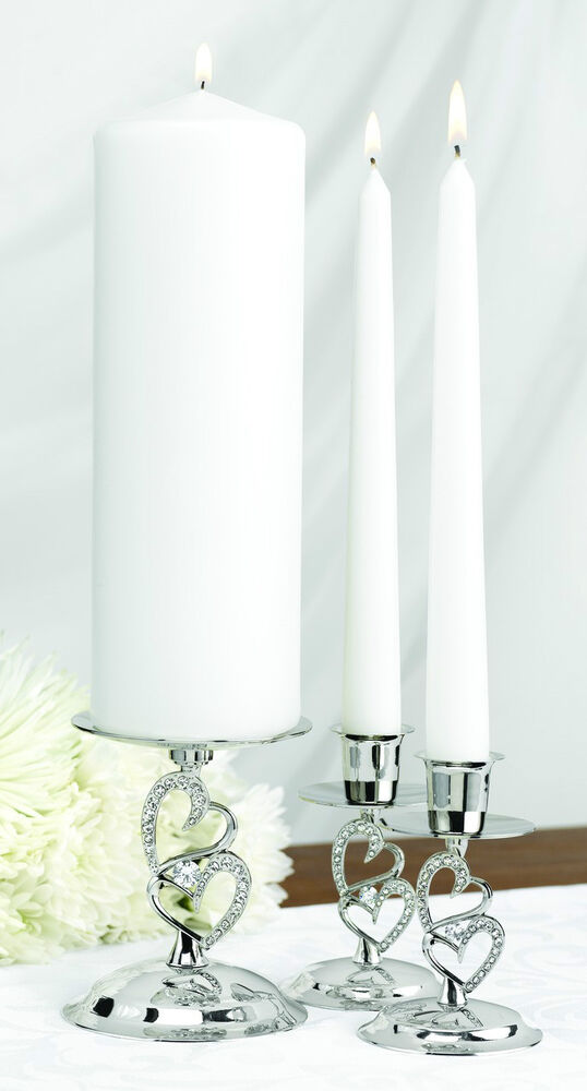 Nickel Plated Sparkling Love Heart Unity Candle Stand Set