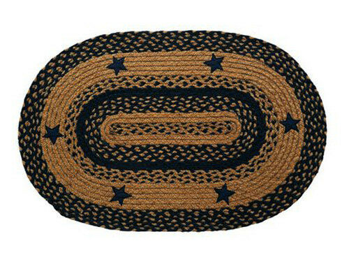 IHF Home Decor Braided Oval Shape Rug Star Navy Design 100