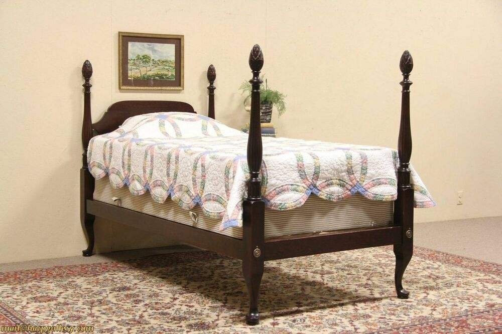 pineapple 4 poster twin size 1925 mahogany bed ebay. Black Bedroom Furniture Sets. Home Design Ideas
