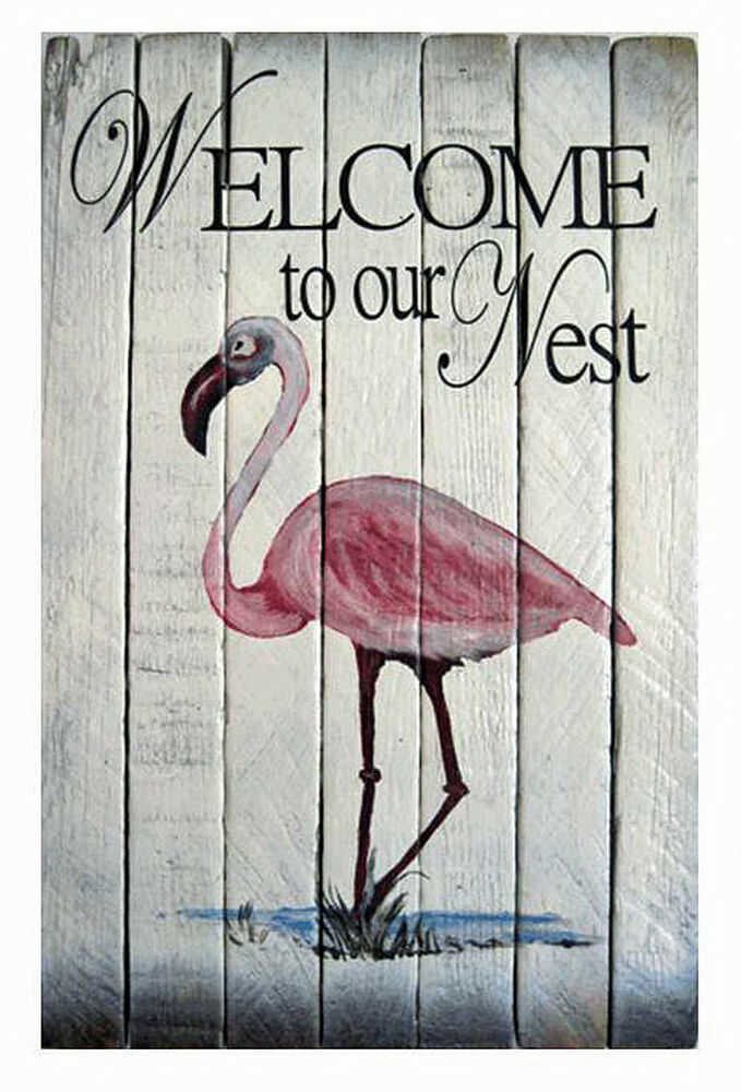 Wooden Wall Decor Signs : Coastal wall art pink flamingo welcome sign nautical