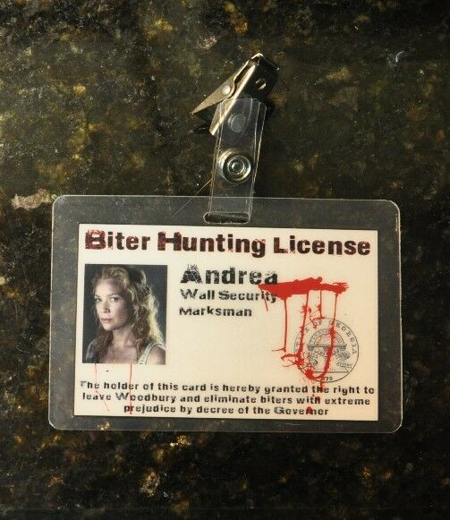 The walking dead id badge biter hunting license andrea ebay for Fishing license colorado