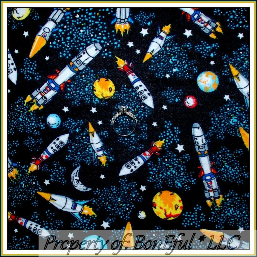 Boneful fabric fq flannel space s scenic night sky moon for Space flannel fabric