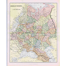 RUSSIAN EUROPE 1880s Mackenzie Color Map