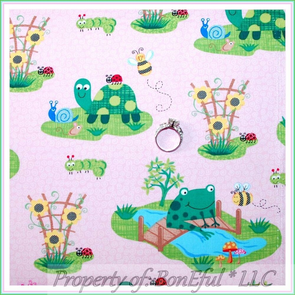 Boneful Fabric Fq Cotton Pink Girl Sm Green Frog Calico