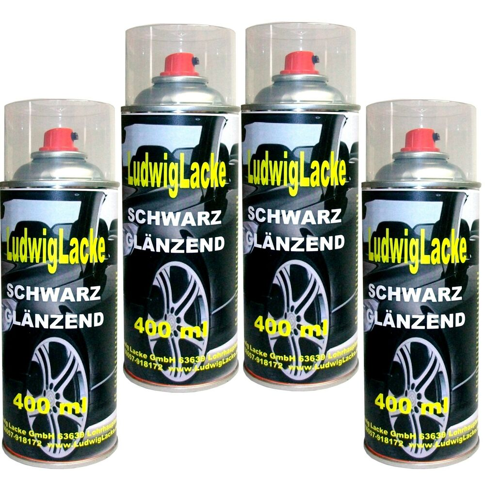 schwarz gl nzend 4 spraydosen autolack je 400ml ludwiglacke portokosten ebay. Black Bedroom Furniture Sets. Home Design Ideas