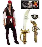 MENS CARIBBEAN PIRATE FANCY DRESS COSTUME WITH FREE SWORD PISTOL AND EYEPATCH