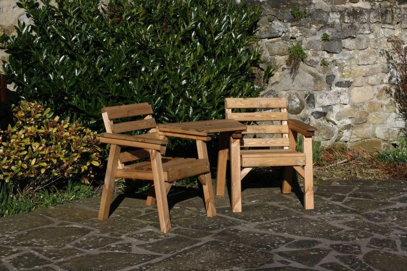 Solid wood garden furniture patio set love seat table for Wooden garden furniture