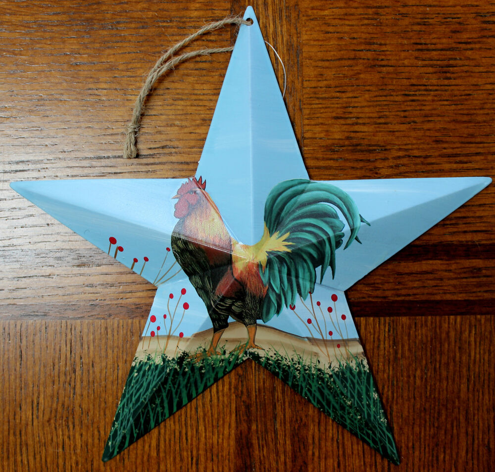 "New Tin Metal Rooster Hanging Star 9.5"" Country Decor Farm"