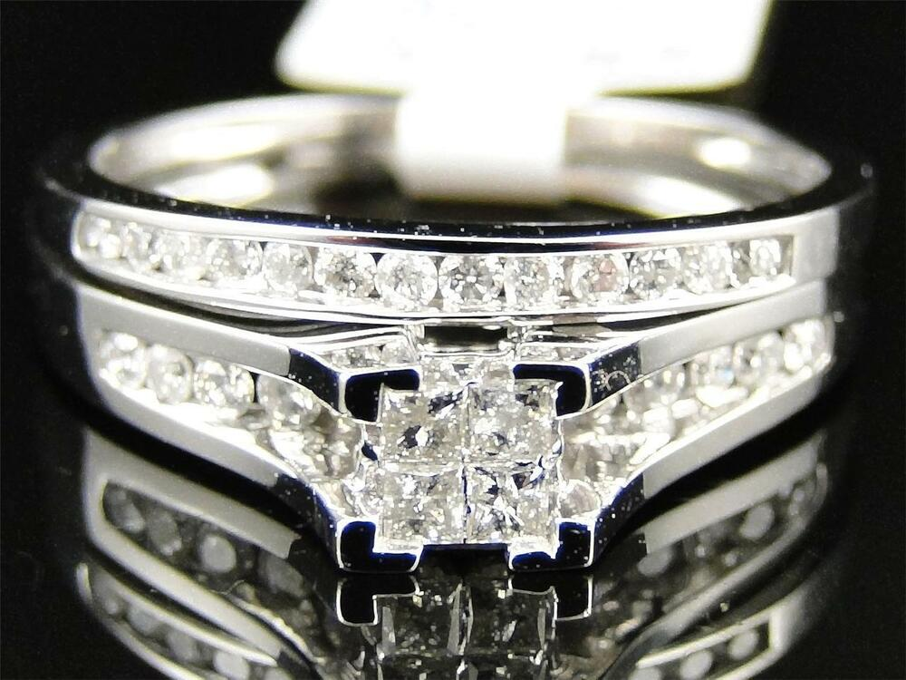ladies 10k white gold princess cut diamond engagement. Black Bedroom Furniture Sets. Home Design Ideas