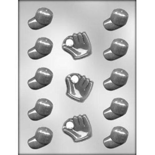 Chocolate Baseball Cap: Baseball Caps And Gloves Chocolate Candy Mold CK #6103